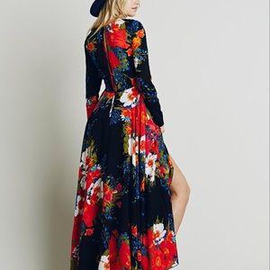 Free People First Kiss Midnight garden maxi dressS